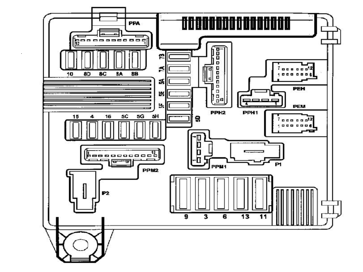 схема панели предохранителей fiat doblo